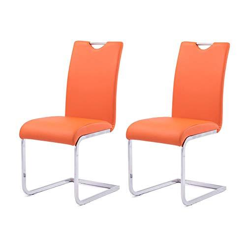 Stühle CJC Esszimmerstühle Set von 2 Faux Leder, Tabelle Seite, Metall Chrom Beine, Hoch Zurück, Küche Essen Raum (Farbe : Orange) (Faux-leder-stühle)