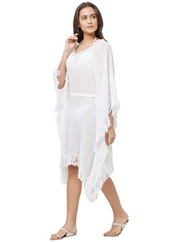 SOURBH Top Western Dress for Women Daily or Beach Wear Body Coverups Girls (SK434_White, Free Size)