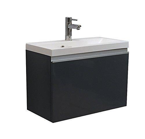 Quentis Badmöbelset Faros, Breite 60 cm, Waschbecken und Unterschrank, Front und Korpus graphit glänzend - 60 Waschbeckenunterschrank