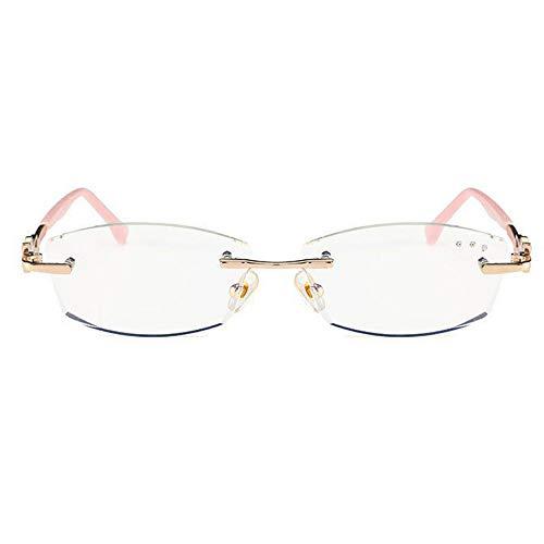 Magnifier Rahmenlose Lesebrille Damen Anti-Blau Brille Goldschnitt