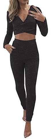 Damen einfarbig Sportanzug Tief V Ausschnitt Crop Bustier Top Reizvolle Schulterfreies Langarm Oberteile Slim Skinny Hosen Leggings Tracksuit (EU38=L, Schwarz)