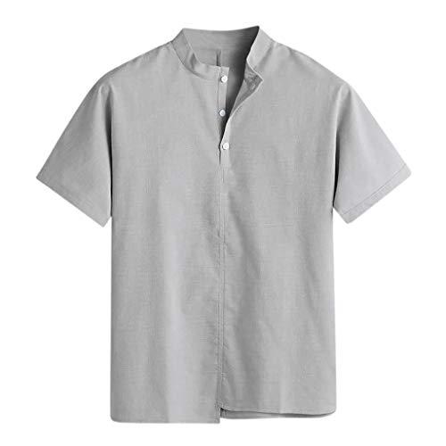 Kanpola Casual Sommerhemden Herren Grandad Kragen Hemd Retro Stylische Henley Shirt Kurzarm Freizeithemd MäNner