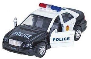 Polizei und Feuerwehr Auto mit Sirene + Licht in verschiedenen Farben (Police schwarz weiß)