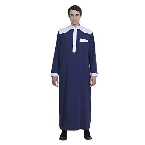 Yu'ting ☀‿☀ uomini arabo musulmano thobe con maniche lunghe collo di mandarino uomo thobe arabo musulmano indossare