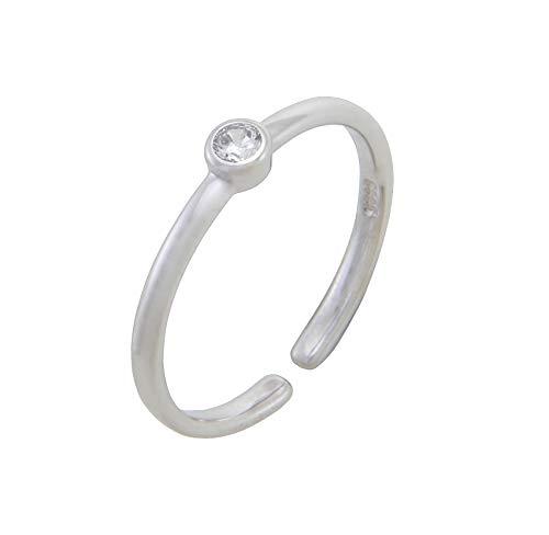 Nature Rebel Damen Ring Swarovski Kristall weiß 925 Silber dünn offen größenverstellbar - Damen-verlobungsringe, Größe 11