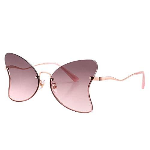QYYtyj Damen Sonnenbrille Metallic Sonnenbrille Schmetterlingsform Linse Rahmenloser UV Schutz Schattierung Nylon Linse Mädchen Geschenke (Color : B)