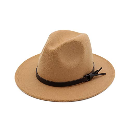 e6085b12649df6 Vim Tree001 Womens Fedora Hats with Belt Buckle Wide Brim Panama Fedora Cap  Camel