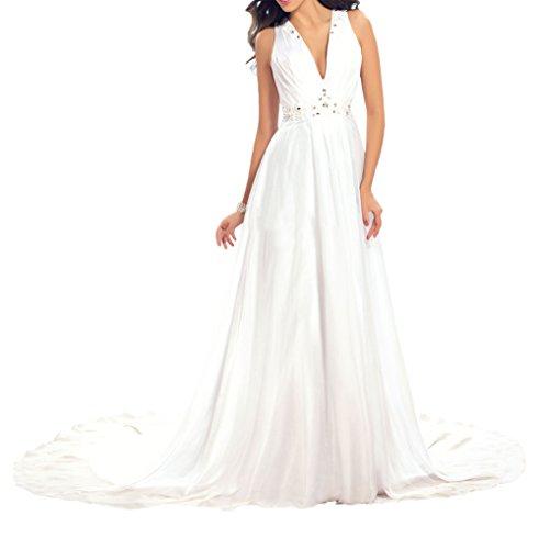 Sunvary Fashion V-Neck Neu Chiffon Abendkleider Ballkleider Partykleider Lang Weiß