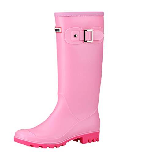 Gummistiefel Damen Flache Reitstiefel Regenstiefel Hohe Stiefel Schlupfstiefel Gummistiefeletten mit Schnallendesign Celucke (Pink, 39 EU)