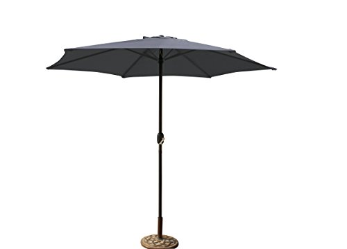 floristikvergleich.de Alu Marktschirm Sonnenschirm mit Kurbel anthrazit Garten Schirm Ø300 cm Sonnenschutz