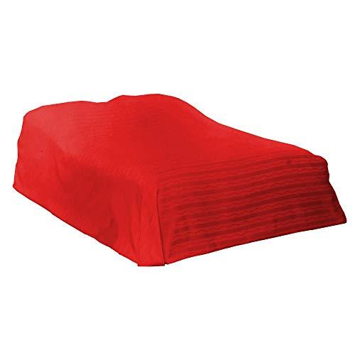 SunDeluxe Bett- und Sofa Überwurf 210 x 280 cm mit Jacquard Design - Bettdecke Bettläufer Tagesdecke Überzug, Farbe:Rot (Sofas Rot)