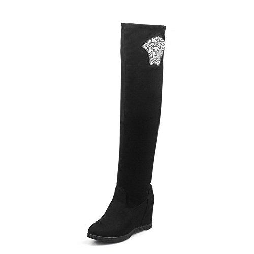AllhqFashion Damen Hoher Absatz Eingelegt Ziehen Auf Stiefel mit Beschlagene Strass Schwarz