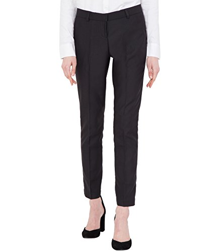 American-Elm Women's Black Cotton Slim Fit Formal Trouser