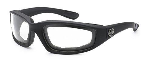 Moda Choppers Gangster Biker Radfahren Gepolsterte Motorrad-Schutzbrille-Gläser 1 55 Mittel Saubere Linse