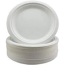 Assiettes Super Rigides en Bagasse Biodégradables et Jetables - Alternative Écologique Non Plastique - Assiettes de Fête Rondes, Lot de 50 Assiettes en Papier Robustes de 23 cm