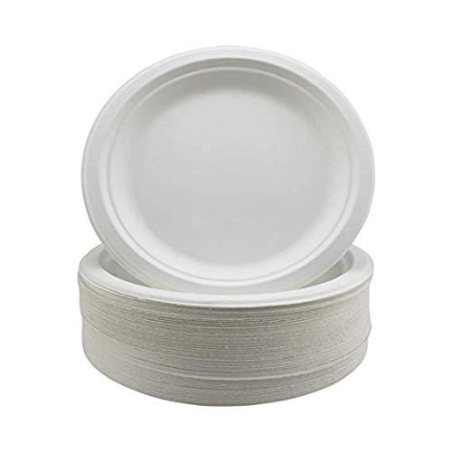 Piatti super rigidi per bagassa biodegradabili e usa e getta - alternativa non plastica ecologica - piatti rotondi per feste 50 confezione da 23 cm - piatti di carta resistenti da 23 cm