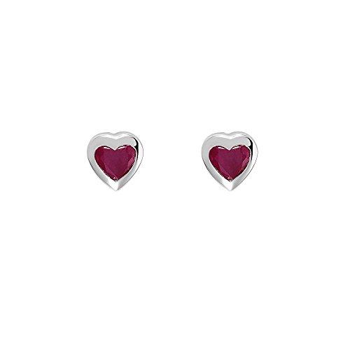 Ivy Gems Pendientes con tuerza, diseño de corazón, rubí y oro blanco de 9ct