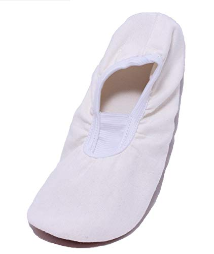 Kinder Tanzschuhe Unisex Gymnastikschuhe Ballettschläppchen Gr. 31-36 Offwhite Weiss