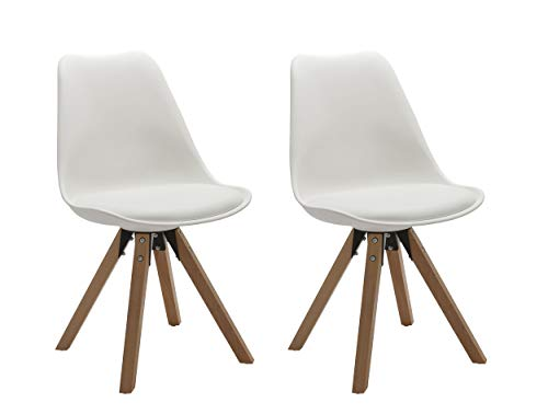 Duhome Elegant Lifestyle Stuhl Esszimmerstühle Küchenstühle !2 er Set! in Weiss Küchenstuhl mit Holzbeine Sitzkissen TYP9-518M Esszimmerstuhl Retro Küchenstuhl Farbauswahl -