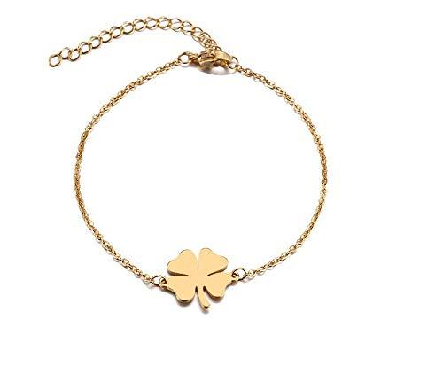 HOKULANI- Glücksarmband Kleeblatt   Glück Fußkettchen   Armband in Gold oder Silber (Gold)