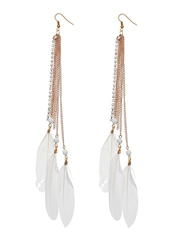 Aaishwarya Heavenly White Feather Tassel Metal Dangle & Drop Earring For Women