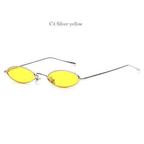 Sonnebrille UV400 Mirrored Metal Frame Herren Damen Sunglasses Reflektierende Spiegel Objektiv Gelb