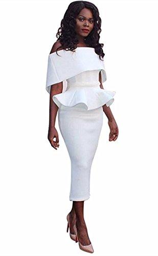 Honestyi Damen Große Größe Büro Dame Formal Business Work Abend Partei Elegantes Mermaid Bleistift-Kleid Cocktailkleider Slim Partykleider (XL, Weiß)