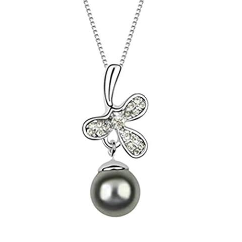 KnSam Collier Femme Alliage Pendentif Pearl en Forme de Fleur Grais foncé [Collier Fantaisie]
