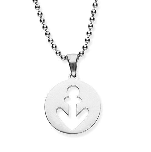 URBANHELDEN Damen-Kette mit Anker Anhänger - Hals Kette Maritim Amulett - Schmuck in Verschiedenen Farben erhältlich - Silber