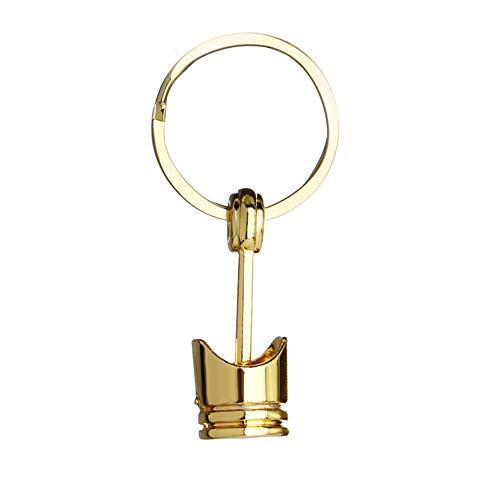 Artily Schlüsselanhänger aus Metall, Motiv: Motorkolben Modell-Schlüsselanhänger, Kreatives Hängeornament, Rucksack-Anhänger 8737373, Gold, 6.5cm*2.5cm
