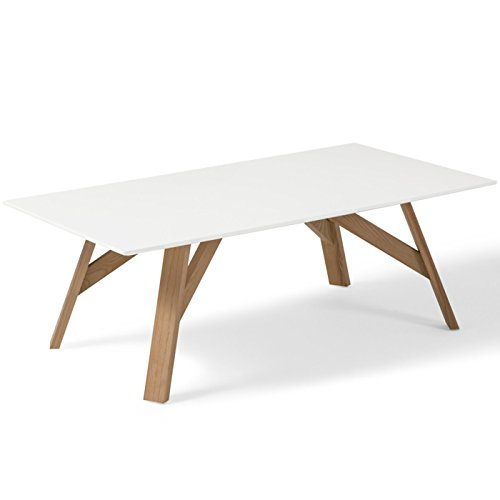 Table basse design scandinave TYCKA blanc et pied en frêne 120 cm x 65 cm