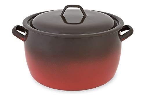 Menax - Marmite Traiteur / Faitout + Couvercle - Cocotte - Casserole Rouge - Modèle Feu - Acier Emaillé Antiadhésive - Induction - Ø 22 cm - 6,4 L - Fabriqué en Espag
