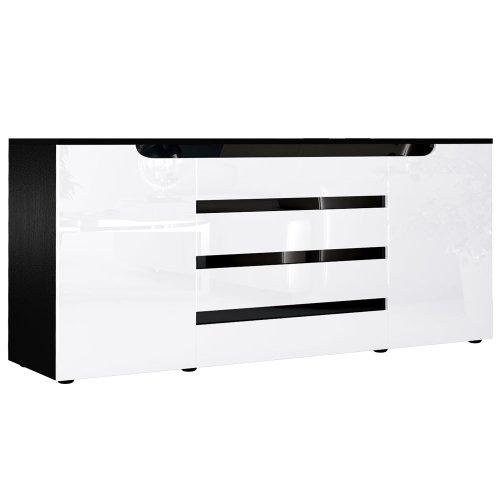Vladon Buffet Dressoir Sylt V2, Corps en Noir mat/Façades en Blanc haute brillance un decor en Noir haute brillance