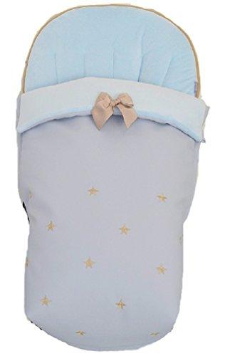 BORDAYMAS/ Winterfußsack für Kinderwagen, Aus wasserdichtem blau synthetischem Kunstleder, bestickt mit Sternen in ksmelem und extra - weichem blau synthetischem Haar. Hergestellt in Spanien