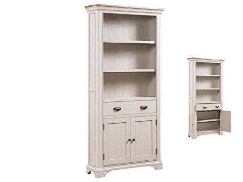 Eiche Bücherregal, hoch lackiert-French Rustikal Großer Bücherregal mit 2Türen und 1Schublade Eiche lackiert-Pflanzenschild Eiche Möbel lackiert-Esszimmer-Wohnzimmer-Home Office Möbel -