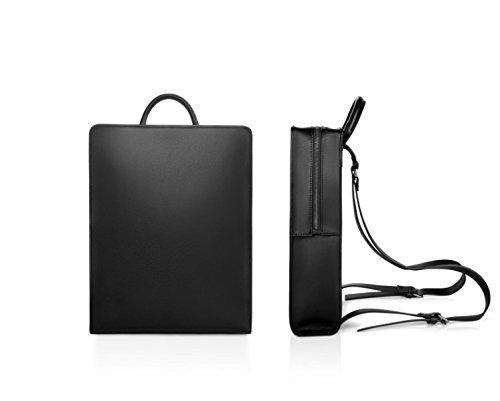 Uomo E Donna Zaino Retro Borsa In Pelle Casual Moda Nero Business Messenger Bag Laptop Per Uomini E Donne Black