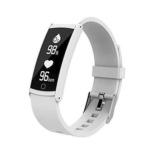 Wasserdicht Smart Uhr mit Herzfrequenz/Dorical Fitness Armbanduhr/USB-Lade-Fitness-Tracker/Armband mit Schrittzähler, Kalorienzähler Touchpad Bluetooth Watch für Damen Herren Kinder(Weiß)