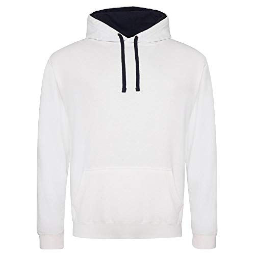 Just Hoods - Varsity Hoodie - 2-farbiger Kapuzenpullover M,Arctic White/French Navy Arctic Pullover