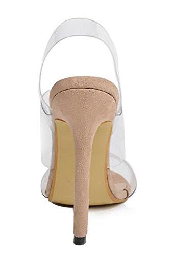 SYYAN Damen PVC Transparent Offener Zeh Pumpe Kleid Sandalen 1