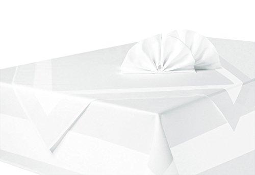 ZOLLNER® Vollzwirn Damast Tischdecke weiß, Größe ca. 140x240 cm, mit edlem Atlasstreifen, in weiteren Größen erhältlich, vom Hotelwäschespezialisten, Serie