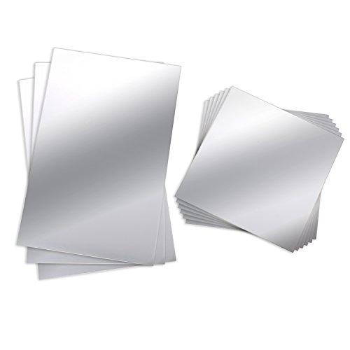 BBTO 9 Stück Spiegelblätter Flexibler Nicht Glas Spiegel Kunststoff-Spiegel Selbstklebende Fliesen Spiegel Wandaufkleber, 6 Zoll x 6 Zoll und 6 Zoll x 9 Zoll (Selbstklebende Silberfolie)