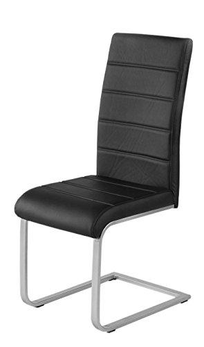 SAM 6er Spar-Set Freischwinger in schwarz, Stuhl mit Kunstlederbezug, hoher Komfort, geschwungenes...