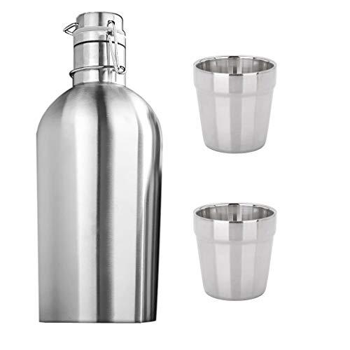 Tubayia 2L Edelstahl Wasserflasche Trinkflaschen Thermoflasche mit 2 Stück 180ml Becher für Camping