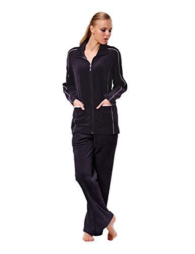 Raikou Damen Velours Nicki Freizeitanzug Hausanzug Nicki-Anzug mit Reißverschluss und Satinband (36/38, Dunkel Lila)