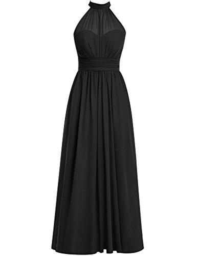 HUINI Damen Modern Kleid Schwarz