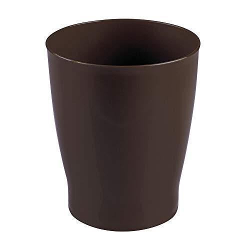 mDesign Mülleimer Bad – toller Kosmetikeimer im modernen Design – Abfallsammler aus widerstandsfähigem und robustem Kunststoff fürs Bad, Schlafzimmer oder Büro – dunkelbraun