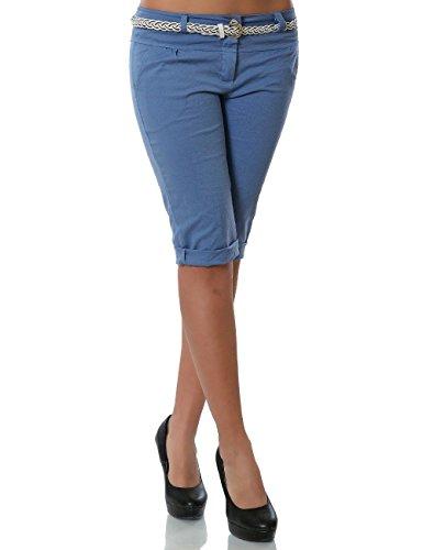 Damen Chino Capri Hose inkl. Gürtel (Weitere Farben) No 13934, Farbe:Pastellblau;Größe:40/L
