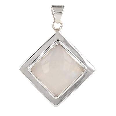 cadeau personnalisé femme-Pendentif - Pierre de Lune-forme carrée- Argent massif rhodié-Femme