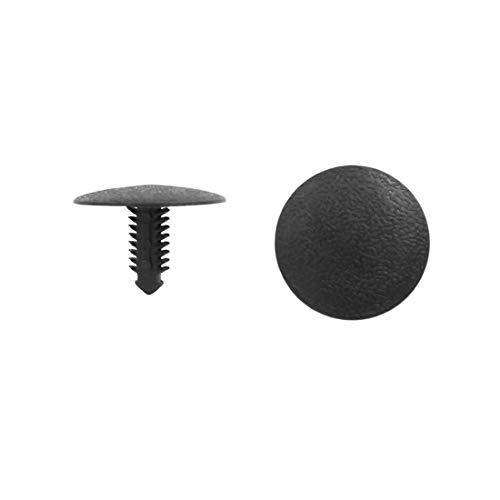 sourcing map 100pcs 6.5mm Diamètre Trou Rivet en Plastique Fixation Voiture Garniture Type Bouton Poussoir Noir Clip