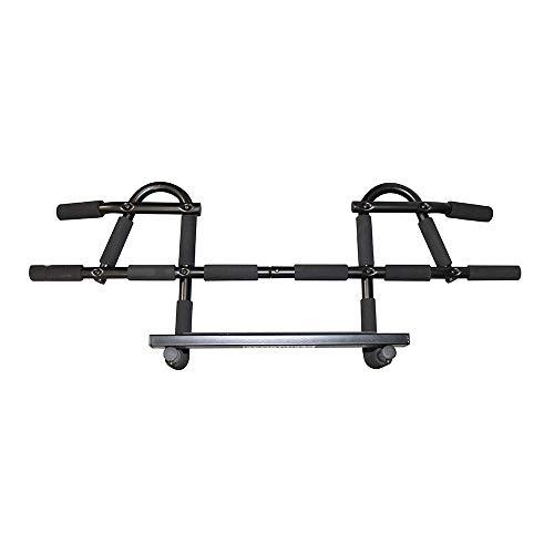 Sportheld® Premium KLIMMZUG-Stange für Tür-Rahmen mit Hand-Polstern | kein Schrauben notwendig | MULTIFUNKTIONS - TÜR-RECK lang | bis 150 kg | rostfreier, belastbarer Spezial-Stahl in schwarz